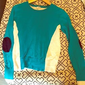 Light weight teal/ tan knit top